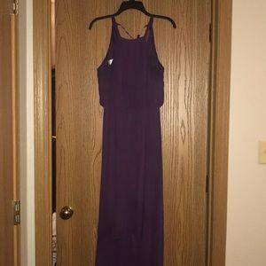 Plum high-low chiffon halter bridesmaid dress